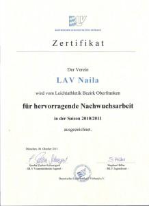 2011 Zertifikat für Nachwuchs 10/11